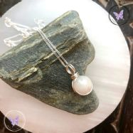 White Agate Wire Wrapped Pendant
